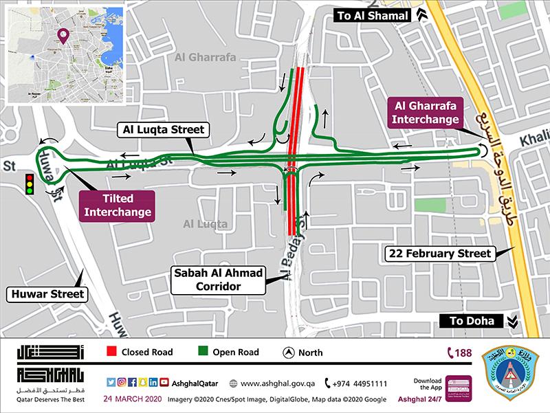 Demolishing temporary bridge and underpass on Al Luqta Street and Sabah Al Ahmad Corridor