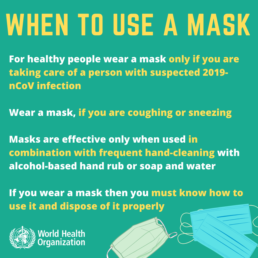 WHO does not recommend using face masks against coronavirus