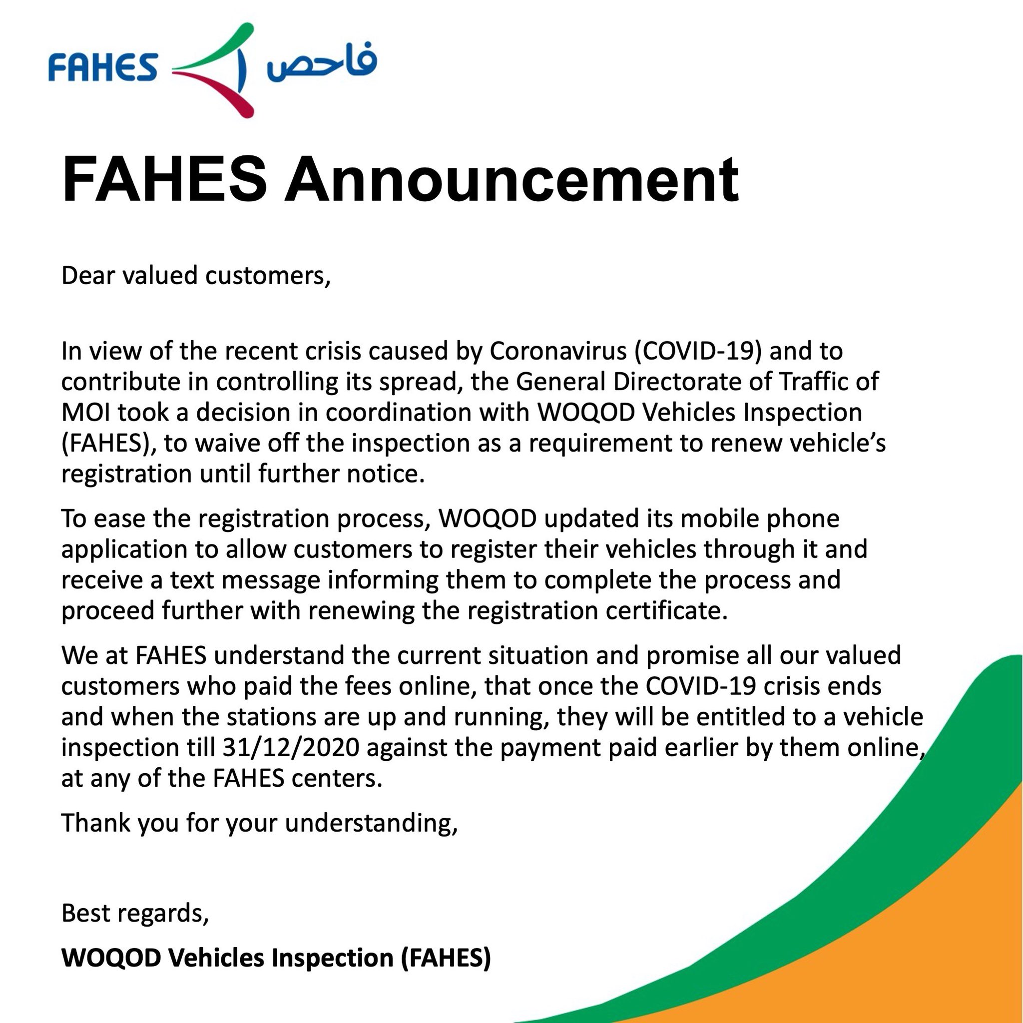 FAHES inspection suspended until further notice
