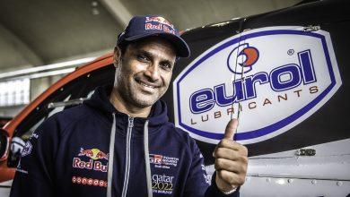Photo of Nasser al Attiyah drives his rally car through gaming simulator