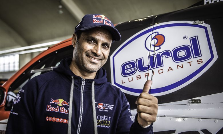 Nasser al Attiyah drives his rally car through gaming simulator