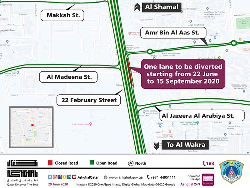 Temporary traffic diversion on service road to Al Shamal Road