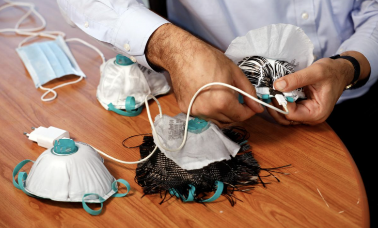 A face mask that can kill Coronavirus using the heat from a mobile phone charger
