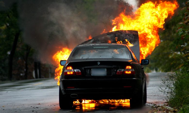 A car is completely burned due to a hand sanitizer left inside of it