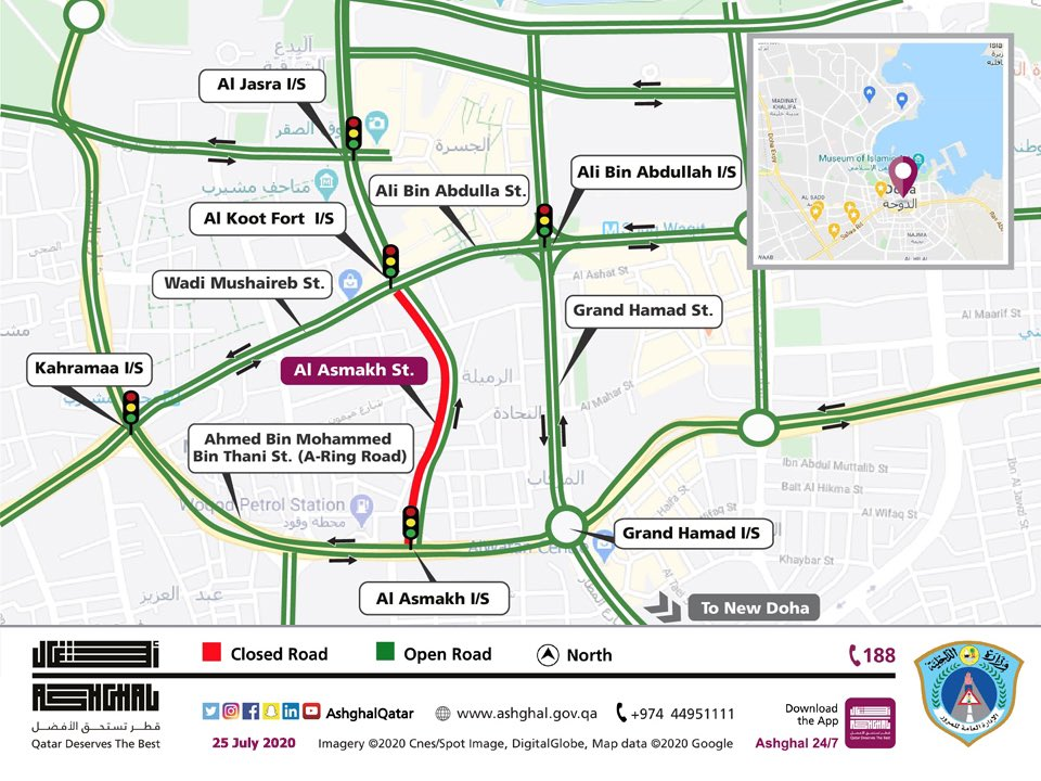 Partial traffic closure in one direction of Al Asmakh Street