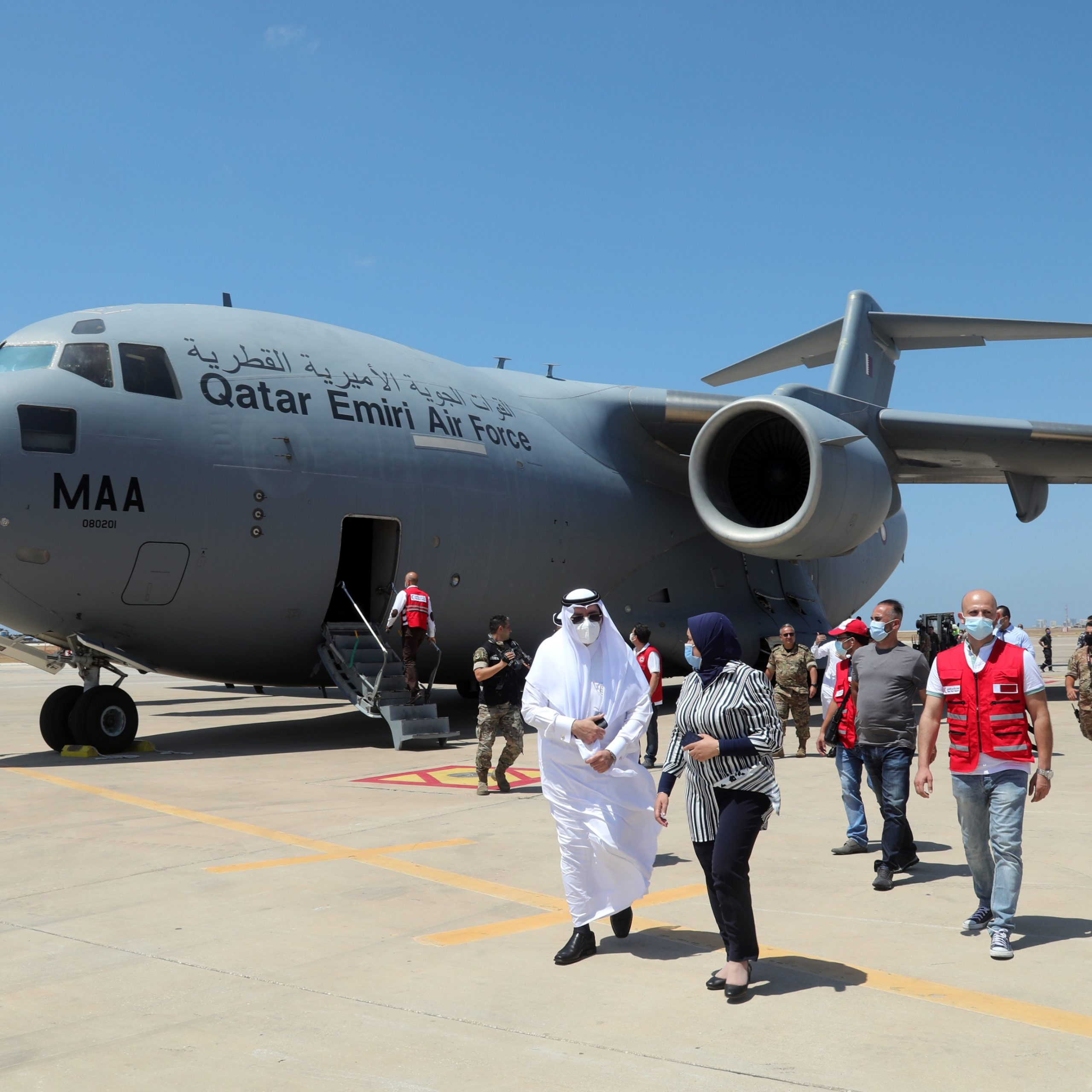 Two cargo aircraft carrying medical aid from Qatar arrive in Beirut