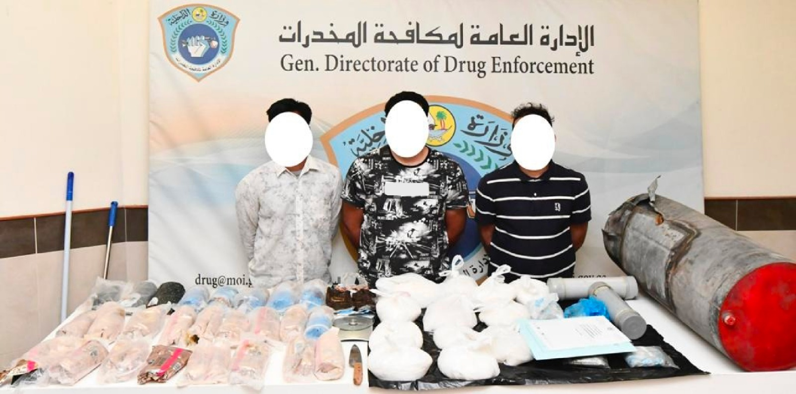 Three individuals arrested for drug trafficking .. 29 kilos of hashish and 10 kilos of crystal meth in possession