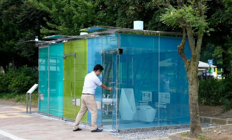 What is the secret of these transparent public toilets in Tokyo parks?