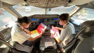Photo of QA operates an exceptional flight with all female crew members