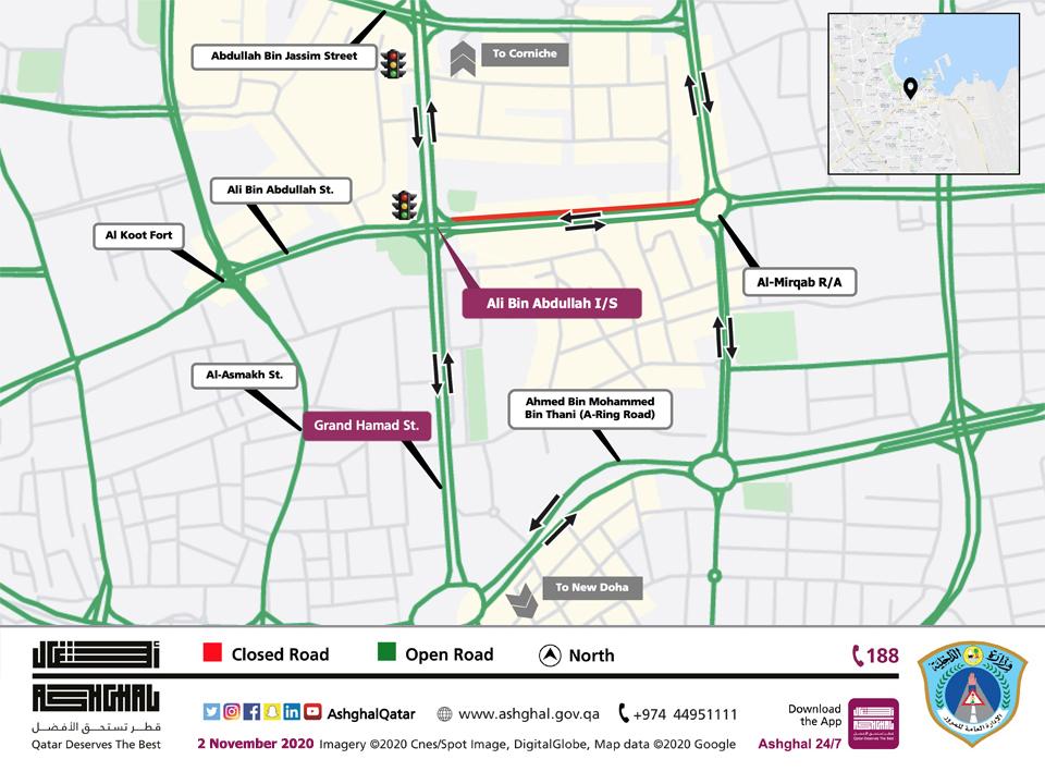 Ashghal: Partial Traffic Closure on Ali Bin Abdullah Street