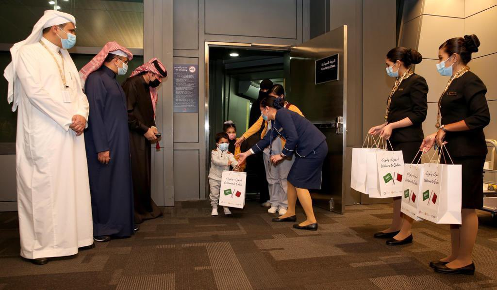 Saudi plane touches down in Qatar to warm welcome