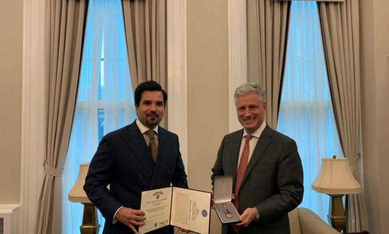 U.S. awards Ambassador of Qatar highest medal for Distinguished Public Service