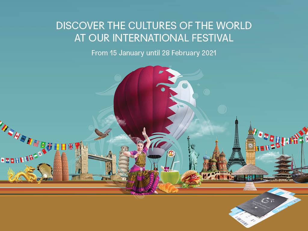 """Image may contain: text that says """"DISCOVER THE CULTURES OF THE WORLD AT OUR INTERNATIONAL FESTIVAL From 15 January until 28 February 2021 E S に mU F6 A 1 م"""""""