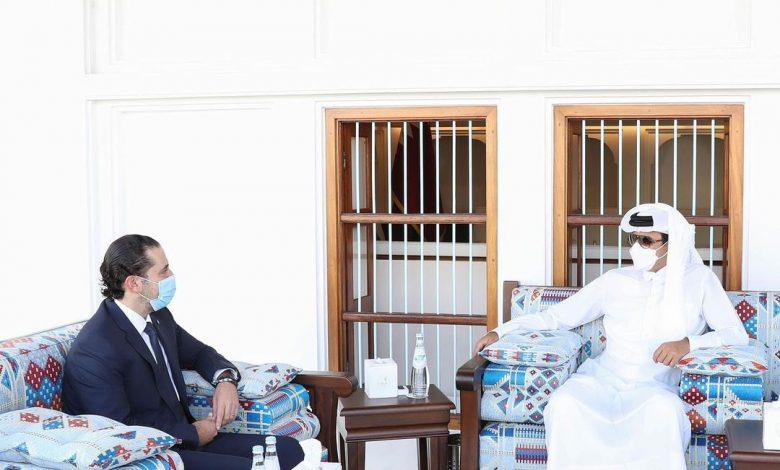 HH the Amir Meets Saad Al Hariri