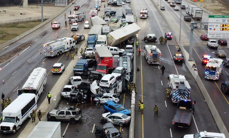 Five killed, 36 Injured in 100-car pileup