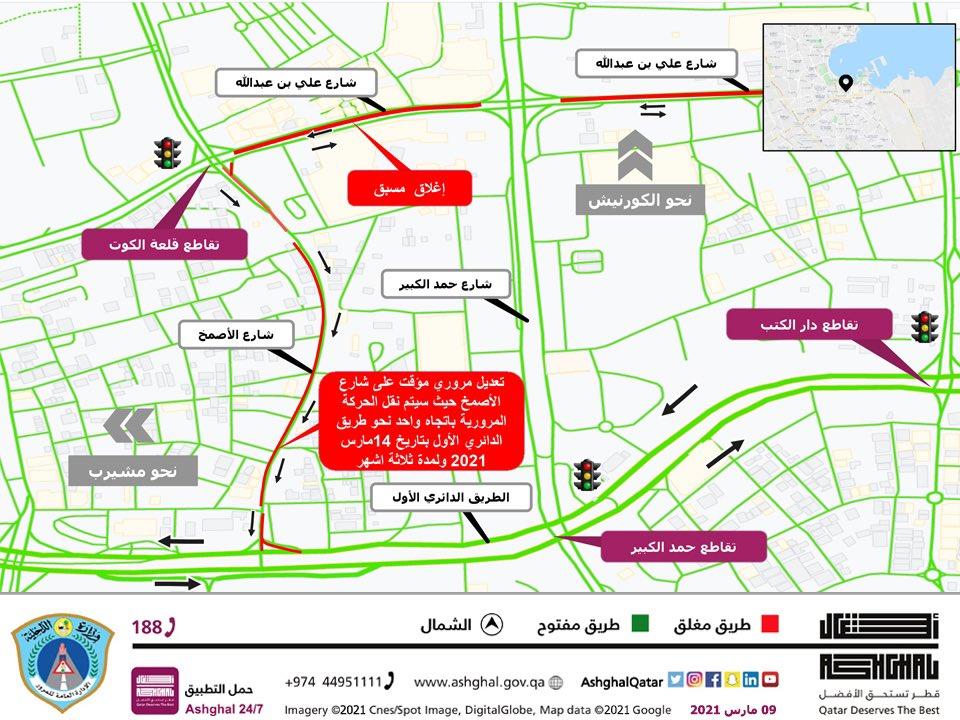 Temporary traffic Shift on Al Asmakh Street