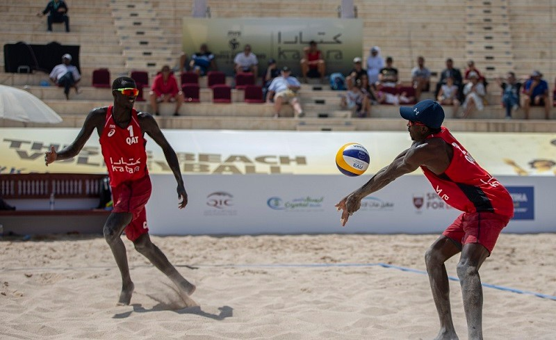 May be an image of one or more people, people playing volleyball and outdoors