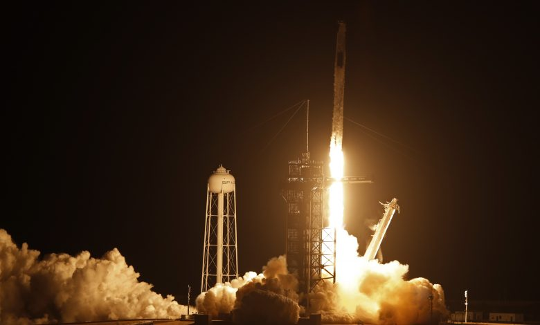 SpaceX Dragon crew of four astronauts blast off to the International Space Station