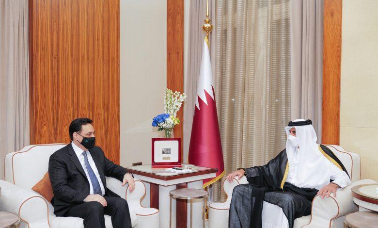 Amir Meets Lebanese Caretaker Prime Minister