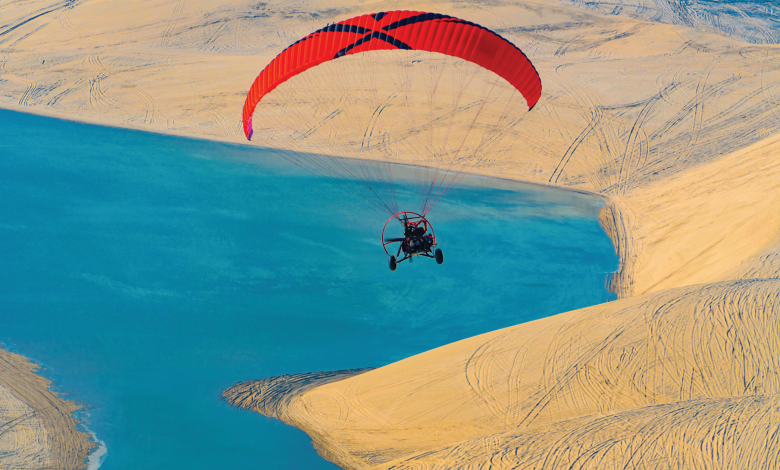 Powered paragliding .. a pleasure for fasting people in Sealine