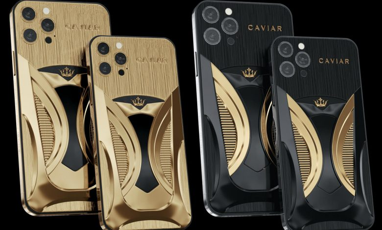 A golden version of the iPhone 12 Pro inspired by a Tesla car