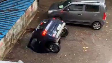 India: Massive sinkhole swallows car in moments!