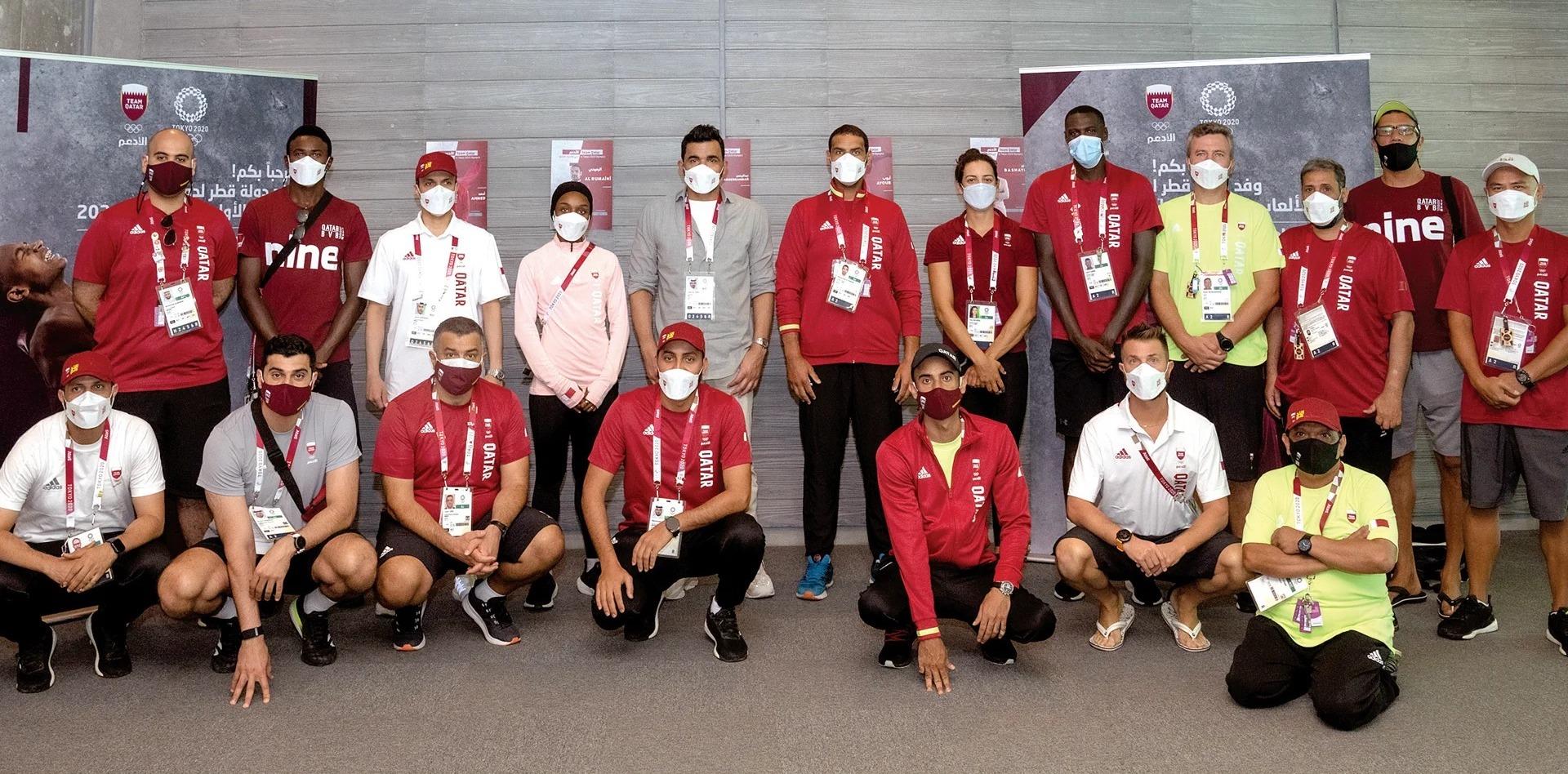 Sheikh Joaan Visits Qatari Delegation of Tokyo 2020 Olympics