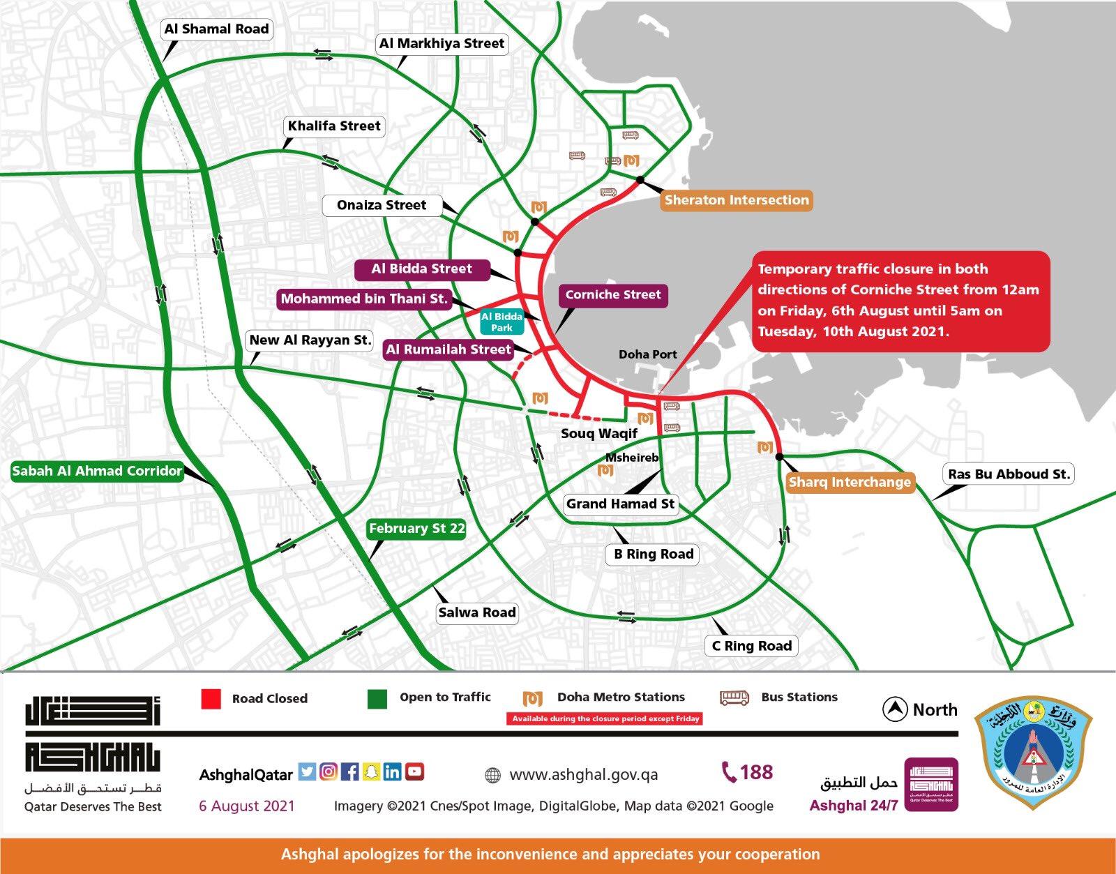 Ashghal Announces Temporary Closure of Corniche Street