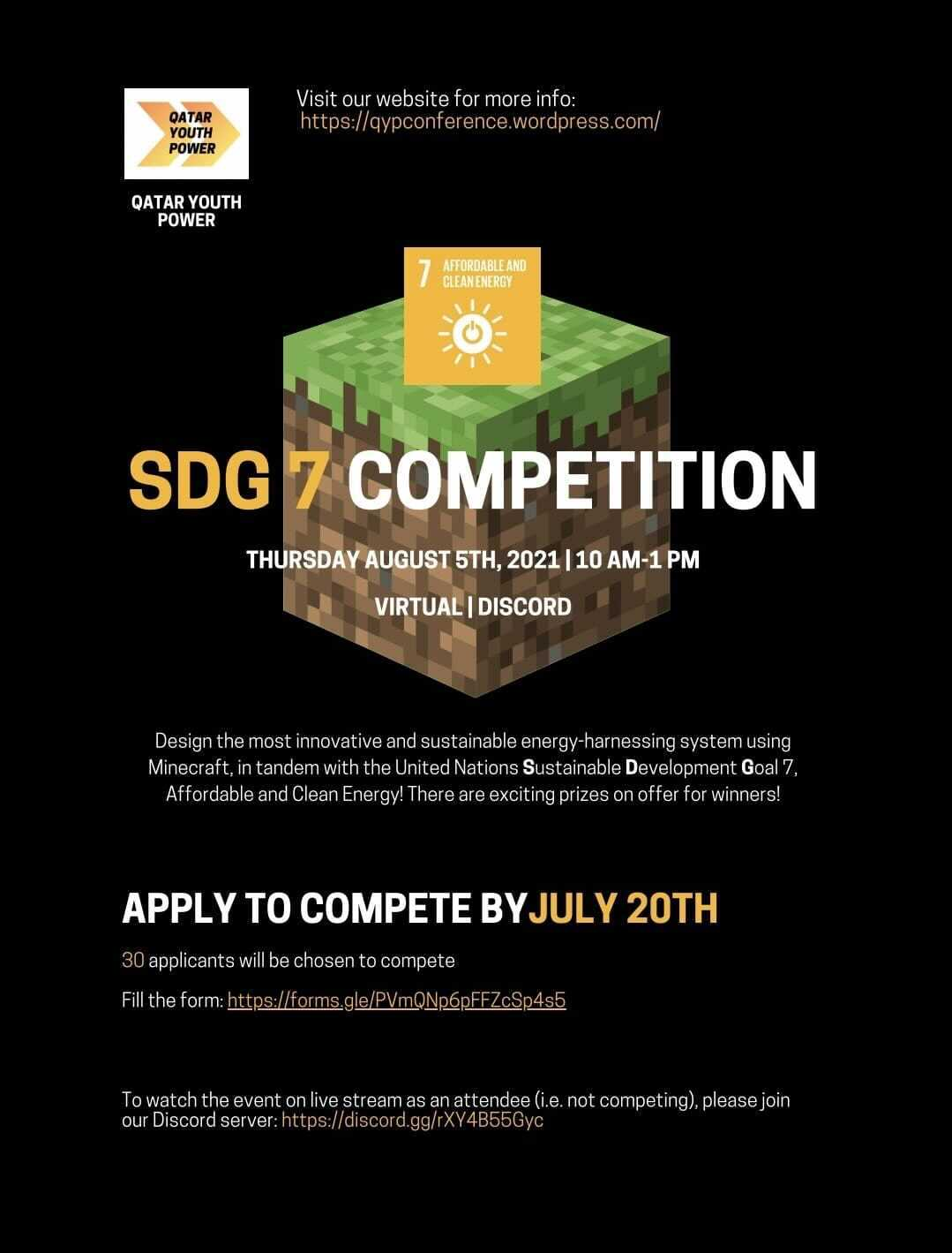 QYP SDG 7 Competition: sustainable energy-harnessing system design through MINECRAFT!