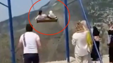 Footage showing two girls falling from a swing at an altitude of 6,300 feet