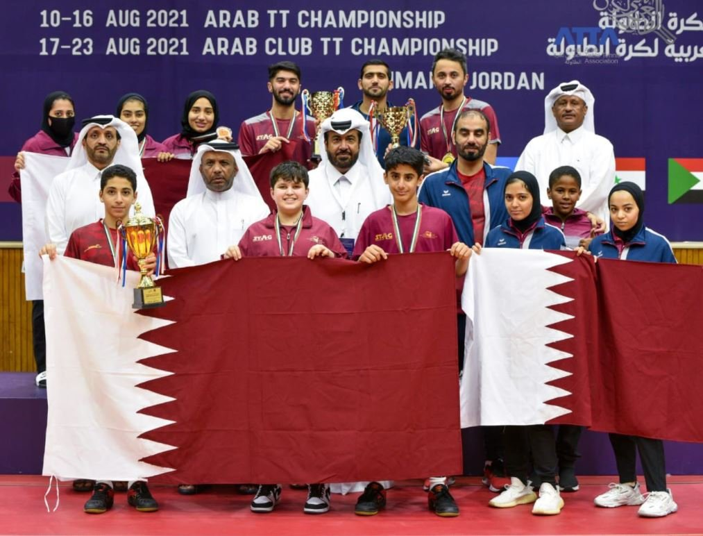 Qatar Ranks Second Overall in the Arab Table Tennis Championships in Jordan