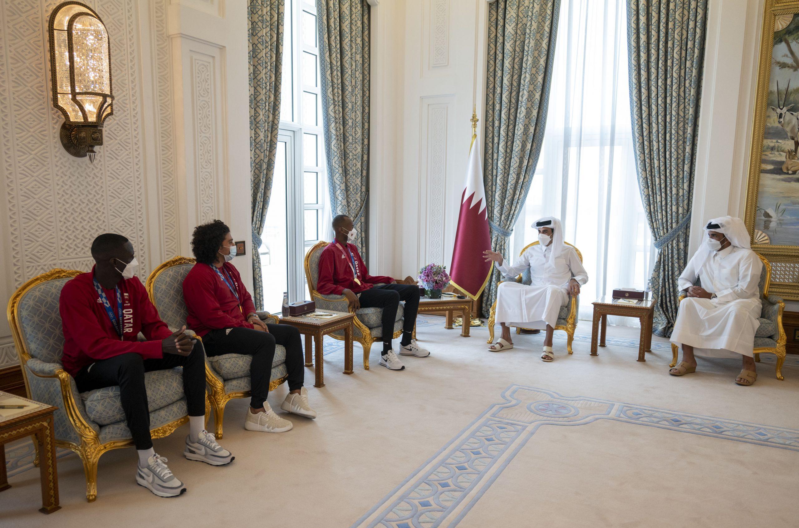 Amir Meets Team Qatar Champions at Tokyo 2020 Olympics
