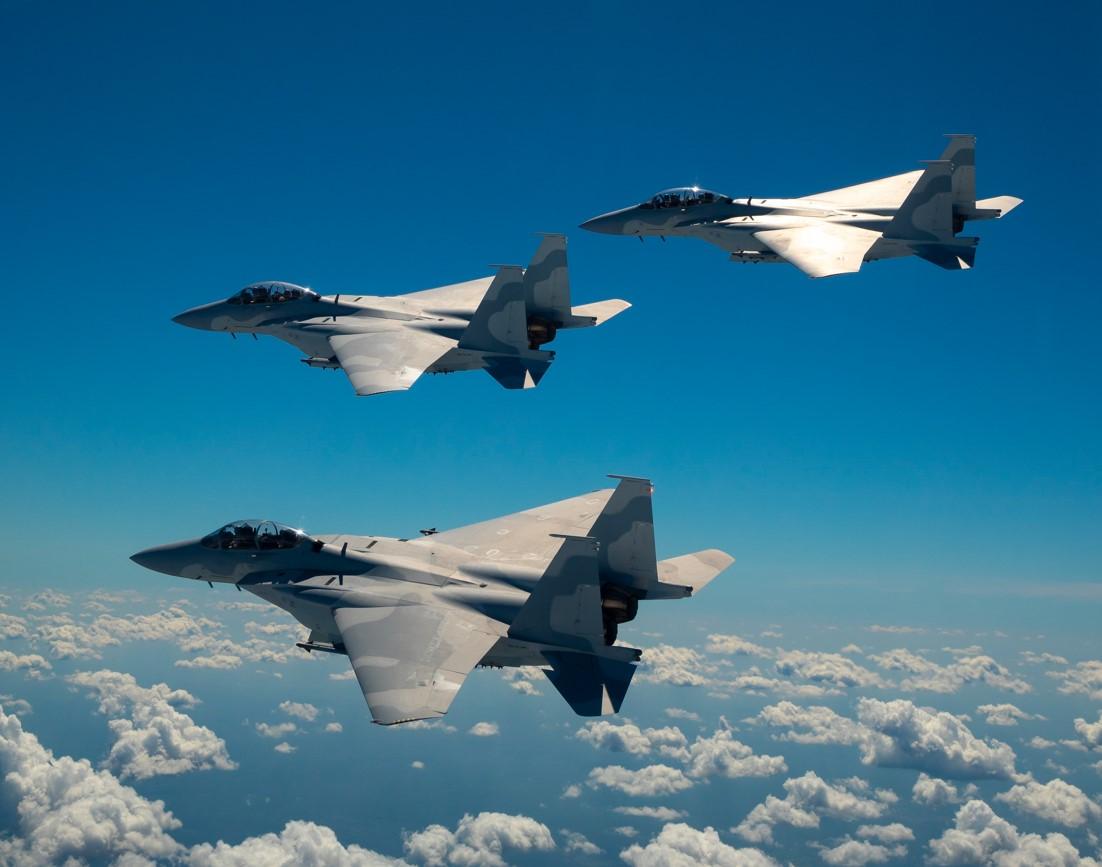 "The Minister of Defense flies the Qatari fighter plane "" F-15QA Ababil"""