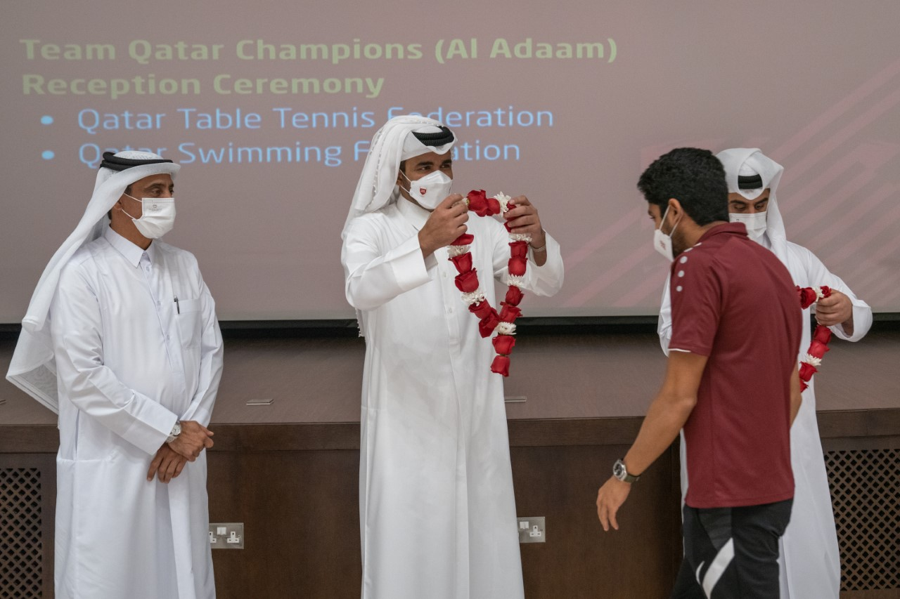 Sheikh Joaan Honors Qatar National Teams for Table Tennis and Swimming