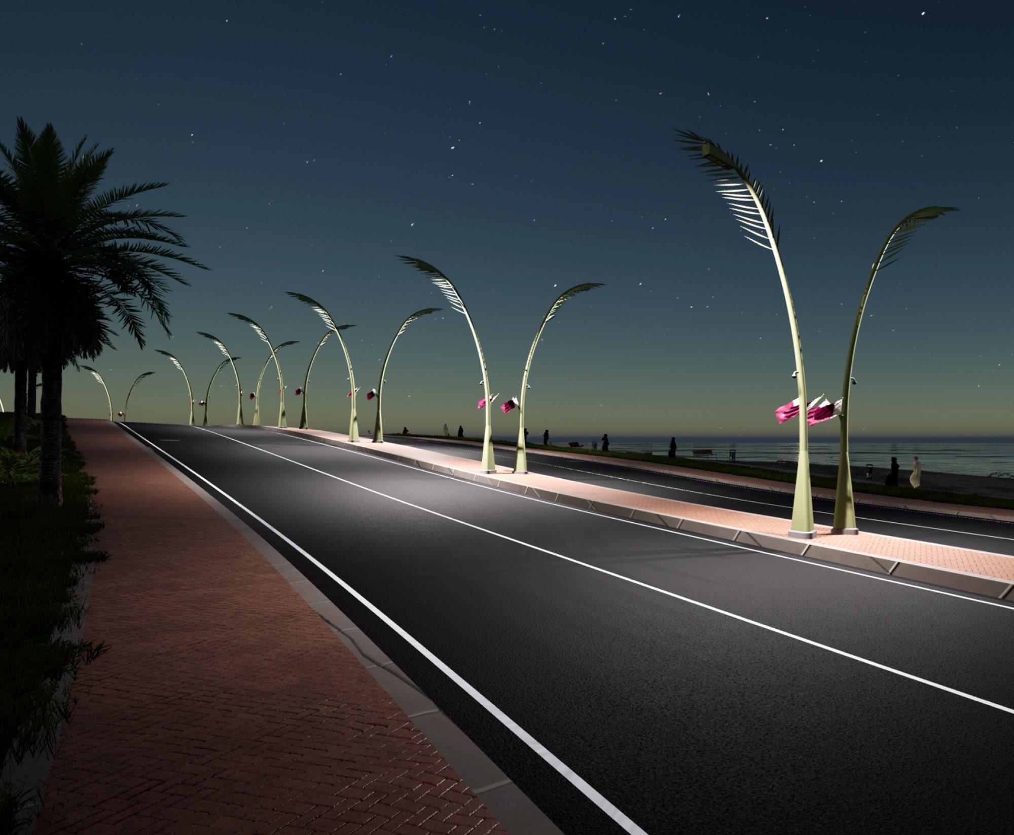 Installation of Decorative Light Poles on Doha Corniche Starts