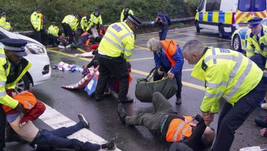 Climate Change Protesters Block Highway to Heathrow Airport in London