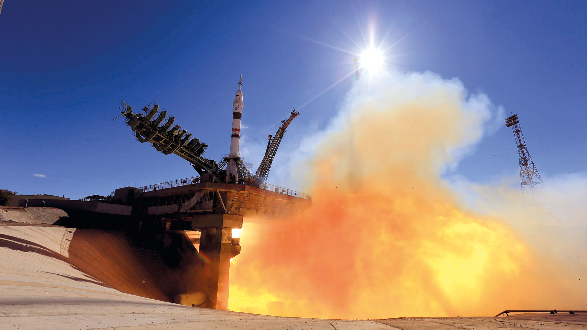 A Russian crew is shooting the first feature film on the ISS